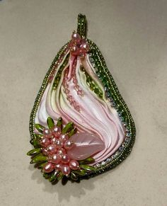 Spring pendant, silk shibori ribbon, bead embroidery, pearls and rose quartz leaf