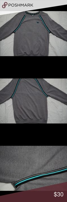 PINK Grey Crewneck Sweater Gray sweater with soft inside, black white blue detailing. Worn once. PINK Sweaters Crew & Scoop Necks