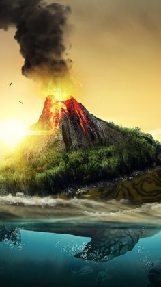 Volcano, turtle, fantasy, sea, art, 720x1280 wallpaper