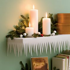 white felt DIY shelf decor..should use flameless candles though. Noel Christmas, Frozen Christmas, White Christmas, Christmas Projects, Christmas Cubical Decorations, Snow Decorations, Office Decorations, Homemade Christmas Decorations, Decoration Noel