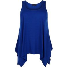 Plus Size Dark Blue Ribbed Hanky Hem Vest (20 CAD) ❤ liked on Polyvore featuring tops, shirts, tank tops, tanks, blue, ribbed tank, sleeveless shirts, blue shirt, plus size tanks and blue tank top