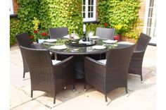 Sidney Round Rattan Garden Furniture 6 Seat Dining Set WITH FREE COVER WORTH £60