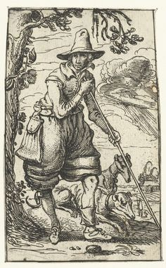Jager met twee honden, Esaias van de Velde, 1610 - 1614