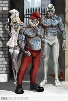 The Smurfs gone gangsta'! Cartoon Art, Cartoon Characters, Tattoo Memes, Gen 13, Disney Babys, Punk Disney, Inked Magazine, Smurfs, Character Art