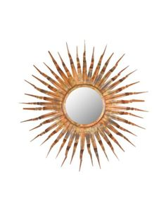 Wall mirror with a wrought iron sunburst frame. Product: Wall mirrorConstruction Material: Wrought iron and mirrored glassColor: Copper, gold and bronze Features: Sunburst design Dimensions: Diameter Sun Mirror, Copper Mirror, Sunburst Mirror, Round Wall Mirror, Round Mirrors, Small Mirrors, Mirror Room, Unique Mirrors, Mirror Vanity