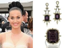 Singer Katy Perry accessorized with spinel and diamond earrings and a spinel and diamond ring by Ivy New York at the Grammys on Sunday.