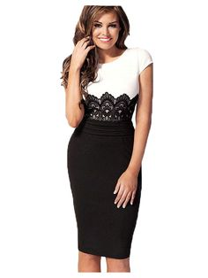 Women Sexy Crochet Lace O Neck Knee Length Fitted Evening Pencil Dress