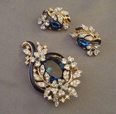 TRIFARI Brooch & Earring Set - EMPRESS EUGENIE - Enameled w/Blue & Clear Stones