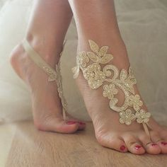 Champagne Barefoot , french lace sandals, anklet, Beach barefoot sandals, embroidered sandals.