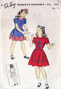 1940s Girls Dress Vintage Sewing Pattern