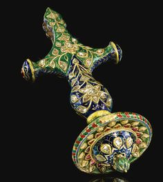 A fine Mughal Enamelled Talwar Handle set with diamonds and rubies, Jaipur, North West India, 18th/19th Century | lot | Sotheby's