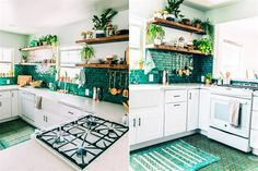 10 cocinas para morir de amor  Alto contraste de blanco puro y distintas tonalidades de verde. Los estantes de madera son el soporte ideal para las plantas que se mimetizan con el revestimiento.         Foto:shescharming.com