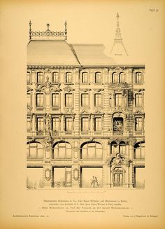 1890 Print Building MåÀnzstrasse 12 Berlin Architecture ORIGINAL HISTORIC AR1