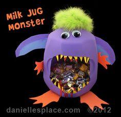 Milk Jug Monster Treat Container Craft Kids Can Make www.daniellesplace.com