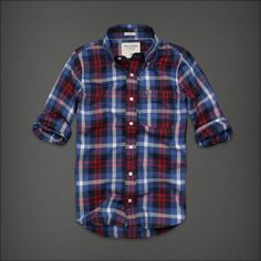 NWT Abercrombie & Fitch Ampersand Blue Red plaid button shirt men