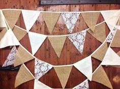 Burlap Lace & Calico Wedding Bunting Banner by Dollyblue11 on Etsy, £11.75