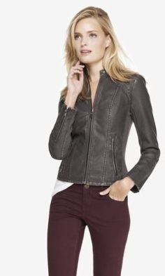 Black Gray Distressed EMBOSSED SNAKESKIN (MINUS THE) Faux LEATHER MOTO JACKET @ EXPRESS $140