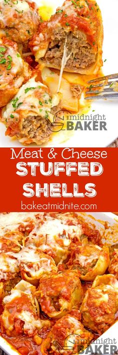 Stuffed shells with savory ground beef and oodles of mozzarella cheese--easy to make! dinner beef Meat & Cheese Stuffed Shells - The Midnight Baker Meat Recipes, Pasta Recipes, Dinner Recipes, Cooking Recipes, Healthy Recipes, Recipies, Healthy Food, Healthy Meals, Dinner Ideas