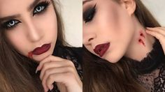 Are you looking for inspiration for your Halloween make-up? Browse around this website for creepy Halloween makeup looks. Vampire Makeup Tutorial, Unique Halloween Makeup, Easy Halloween, Halloween Costumes, Blood Makeup, Vampire Costumes, Fantasias Halloween, Makeup Ideas, Carnival