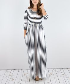 Look at this éloges White & Black Stripe Maxi Dress on #zulily today!