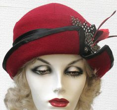 Custom Order for Rita 1920 s Downton Abbey Hats Warm Winter Wool Fabric  Cloche Hat Cranberry with Feathers 36c103adf64b