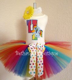 Little Pony Birthday tutu set Rainbow Personalized by TooTuTuCute, $42.95