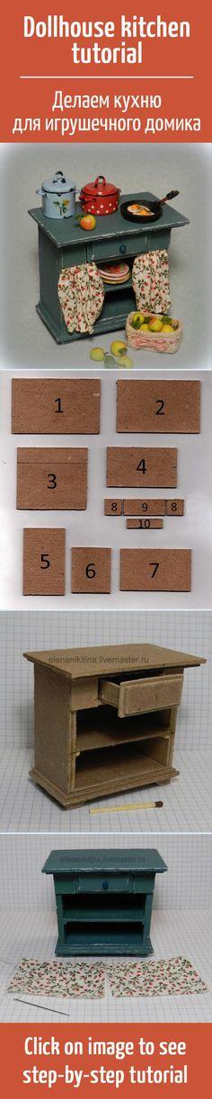 Делаем своими руками кухонный стол из картона для кукольного домика / Dollhouse kitchen tutorial