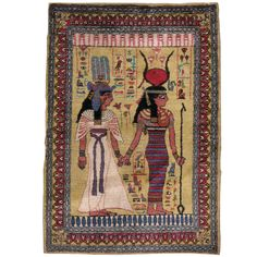 Vintage Egyptian Pictorial Rug | From a unique collection of antique and modern moroccan and north african rugs at https://www.1stdibs.com/furniture/rugs-carpets/moroccan-rugs/