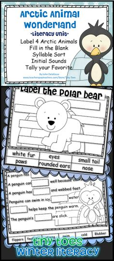 Arctic Animals Literacy/Science Unit w Penguins, Seals, Walrus', Polar Bears Label, Fill in the Blank, Syllable Sort, Initial Sounds, Tally your Favorite $