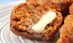 Carroy cake muffins to try.Crunchy pecans, juicy raisins, and crushed pineapple star in this breakfast-approved twist on classic carrot cake. Muffin Recipes, Bread Recipes, Carrot Cake Muffins, Blueberries Muffins, Muffin Bread, Baking Muffins, Breakfast Muffins, Quiche Muffins, Breakfast Time