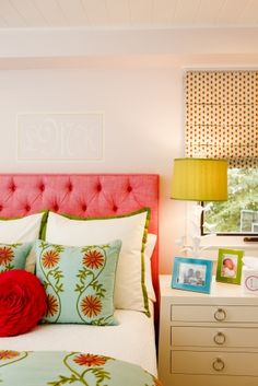 pink tufted headboard, kelly green, floral