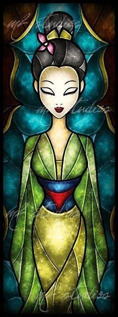 Stained Glass Mulan #StainedGlassDrawing