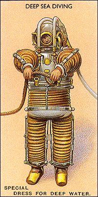 Deep Sea Diving, Cigarette Cards, c.1930s.
