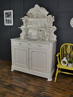 What a find this beautiful ornate dresser was! With a stunning carved top, this piece could be used in a kitchen or living room. We've enhanced it's beauty by simply painting in a creamy white - Heathcliff's Castle and gently distressing and aging with dark wax. Why not add some French charm to your home? http://www.thetreasuretrove.co.uk/kitchen-storage/ornate-shabby-chic-white-french-kitchen-dresser
