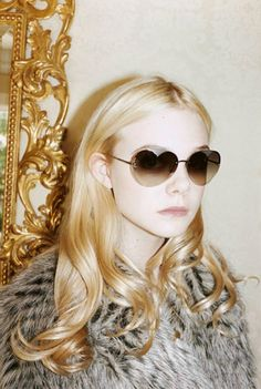 Marc by Marc Jacobs Autumn(Fall)/Winter Ad Campaign Featuring: Elle Fanning Photography: Juergen Teller Juergen Teller, Moda Fashion, Daily Fashion, Women's Fashion, Fashion Face, Fashion Editorials, Heart Shaped Glasses, Heart Glasses, Dakota And Elle Fanning