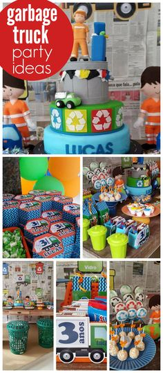 A garbage truck boy birthday party with a great cake and fun recycling activities! See more party planning ideas at CatchMyParty.com!