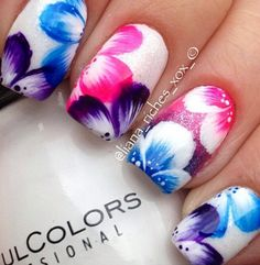 nice Flower-Nail-Art-Designs-Acrylic-Free-Hand-Floral-Nail-Art Discover and share you. Cute Nail Art, Beautiful Nail Art, Cute Nails, Pretty Nails, Beautiful Flowers, Flower Nail Designs, Cute Nail Designs, Pretty Designs, Fancy Nails