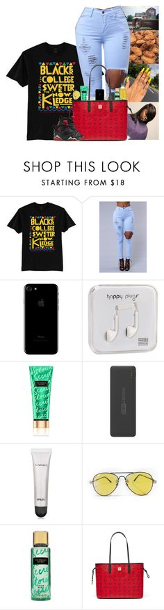 """""""👸🏽"""" by kennisha84 ❤ liked on Polyvore featuring Happy Plugs, Victoria's Secret, Tzumi, MAC Cosmetics and MCM"""