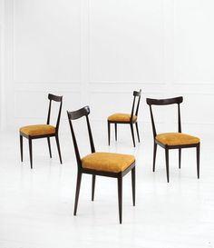 Ico Parisi; Lacquered Wood Chairs for Ariberto Colombo, 1950s.