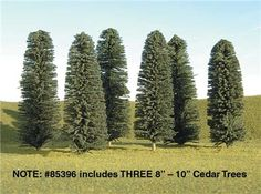 Bachmann SceneScapes 8 to 10 Inch Cedar Trees, Pkg. of 3