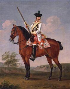 David Morier (1705?-70) Private, 15th Regiment of Cuirassiers 'Diemar'  c. 1748  Oil on canvas   50.8 x 40.5 cm (support, canvas/panel/str external)   RCIN 404295