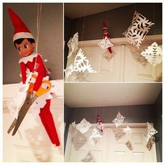 Instagram user jordynns_mommy23 had her elf get crafty with paper snowflakes, which she hung outside of her bedroom door.  Source: Instagram user jordynns_mommy23