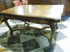 SUPERB ANTIQUE FRENCH PARQUETRY BIG OAK EXTENSION DINING TABLE WITH COW HORN STRETCHER SUPPORT