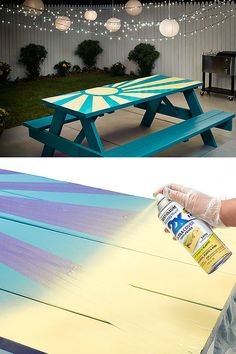 This painted picnic table project can turn your table into the focal point of your backyard or patio. All it takes is some spray paint and a little creativity. This tutorial will show you how to turn your picnic table into a work of art.