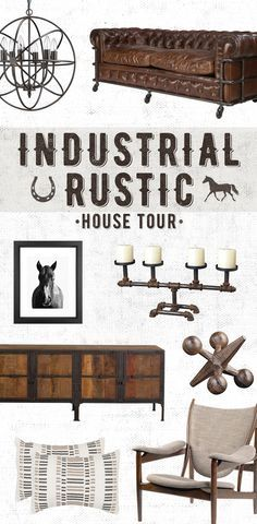 An Industrial Rustic House Tour: Geared accents complement horse décor and a set of shelves made from weathered wood and steel keep the walls interesting. A raw look that works in both the country and the city, this aesthetic is ideal for any home with an edge. Shop Now at http://dotandbo.com!