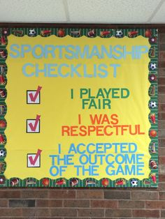 This bulletin board would be great for a PE class because it serves as constant reminders of the rules of the class, and how to be a good sport and classmate. Pe Games Elementary, Elementary Physical Education, Health And Physical Education, Elementary Schools, Education Posters, Art Education, Pe Bulletin Boards, Health Bulletin Boards, Elementary Bulletin Boards