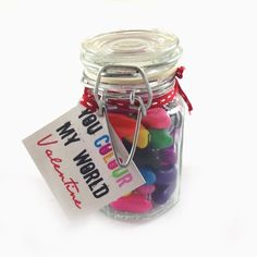 You Colour My World Valentines Sweetie Jar