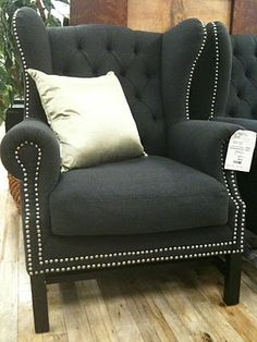 Beautiful Wingback With Nailhead Trim, Totally doing this with my chairs! Spray paint for furniture and nailhead trim! Reupolster Chair, Upholstered Furniture, Home Furniture, Royal Furniture, Twin Sleeper Chair, Sofa Chair, Wingback Chairs, Wing Chairs, Desk Chairs