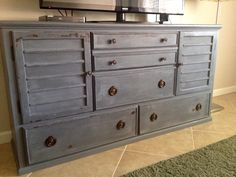 DIY Chalk Paint Refinished Distressed Brenda Marie Designs chest media center gray