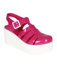 62f06431aca932 Nature Breeze Women Jelly Gladiator Platform Wedge Heel Sandal - Fuchsia    Check out this great image   Jelly Sandals